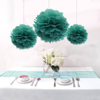 Wholesale 12pcs Mixed Sizes Blue Tissue Paper Pom Poms Wedding Home Decoration