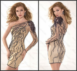 Wholesale 2014 Sheer One Shoulder Sequins Beading Rhinestone Sheath Long sleeve Mini Homecoming Dresses Party Dress C542