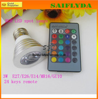 Wholesale Energy Saving W W RGB LED Bulb Lamp light Color changing IR Remote