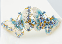 Women's butterfly hair clip - High Quality Gift Cloisonne Enamel Butterfly Hair Clips k gold plated Austrian Rhinestone Crystal Fashion Bridal Hair Accessories