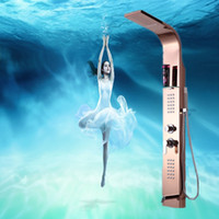 Wholesale Rain shower massage shower panel shower column set copper waterfall faucet stainless steel bathroom