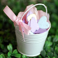 Favor Tins and Pails Pink Metal white red Mini White Pail Mint Tin Wedding Favors DIY Beach wedding gift free shipping LYY392