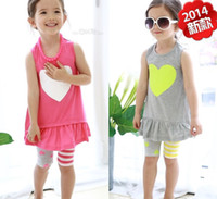 Wholesale 2014 baby girl Outfits Clothing Sets single jersey Tops elastic cotton leggings Kid clothes Sleeveless Capris