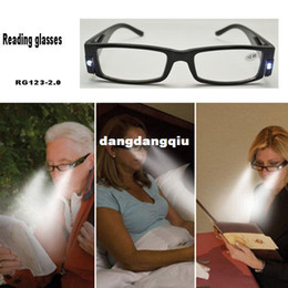 Wholesale fashion style Strength Black LED Reading Glasses presbyopic glasses with LED light RG gafas de lectura