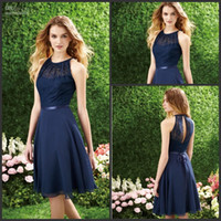 Applique halter tops - 2014 Best Selling Fast Shipping Dark Navy Halter Lace Top Knee Length Chiffon Bridesmaid Dress Party Dresses Bridal Gown