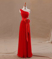 Wholesale Elegant Red Chiffon Ribbons Satin Floor length One Shoulder Lace Up Back Bridesmaid Dresses