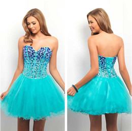 Wholesale Short Crystal Cheap Under Sweetheart Sleeveless A Line Sheet Blue Homecoming Graduation Dresses KHK