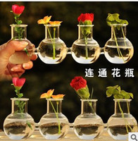 Wholesale Creative conjoined vase balcony decoration process hydroponic borosilicate glass ornaments
