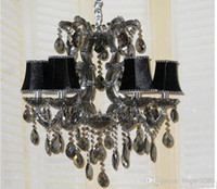 Wholesale 6head European style crystal chandelier living room French restaurant smoky gray glass crystal chandelier bedroom candle chandelier