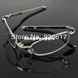 Wholesale With Zipped Blue Pocket Case Folding Foldable Silver Frame Men Women Reading Glasses Presbyopic Map Menu Book Reader Tool