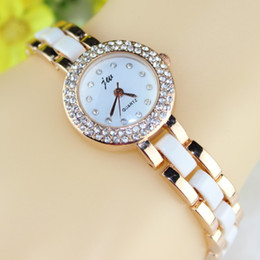 JW Hot Ceramic Watch rose gold for women rhinestone Watches analog crystal hours Casual watch discount ladies quartz watches