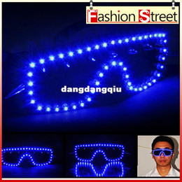 Wholesale New Arrived colors The rivet Blue LED glasses Flash Glasses glasses Mask Glasses