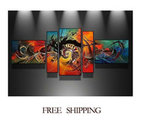 Wholesale 5pcs colorful world oil painting wall decoration canvas painting sets