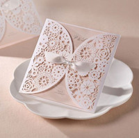 Wholesale Ivory Laser Cut Lace Floral Wedding Invitation Cards Customizing and Printing