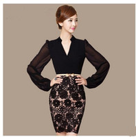 Wholesale M XXXL2014 spring Women s fashion elegant OL lantern sleeve clothing business office lady Pencil Dress black sell like hot cakes