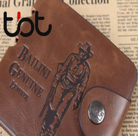 Wholesale TBT Group Brand new Mens High Quality Leather Man Boy Classic Cowboy Leather Pockets Card Bifold Purse Wallet