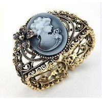 Wholesale 10pcs new vintage cuff Bangle antique brass crystal cameo profile bangles cuff Wristband bracelets H112