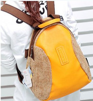 Backpacks PU Women Canvas+PU School Bag Backpack Oracle Bone Script Blue Black Yellow Color Mix Order 1pcs Lot Free Shipping 0306B08