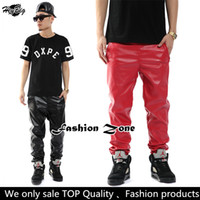 Men pu leather for leather pants - New women men s fashion PU leather pants for lovers hip hop slim fit soft PU trousers plus size L XXXL