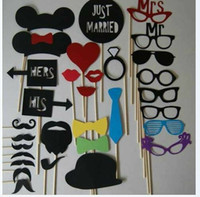 Wholesale Set of Mustache On A Stick Wedding Party Photo Booth Props Photobooth Funny Masks Bridesmaid Gifts For Wedding