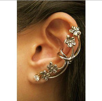 Clip-on & Screw Back american blossoms - Plum Blossom Ear Cuff Earrings Pierced Body Jewelry Gold and Silver Color