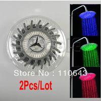 LED Shower Heads Nickle 2341# 2Pcs lot Round Rain Overhead LED Light Shower Head Bathroom Bath Glow 3 Colors Temperature Sensor A3 2341