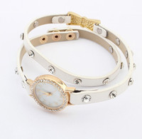 Charm Bracelets other Women's SB103 mixed order Fashion Brown White Color Rivets PU Leather Dual Ring Wrapped Clock Bracelet