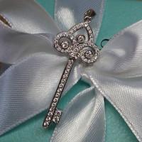 Cheap Sona flower-de-luce keys pendant female necklace diamond pure silver platinum accessories