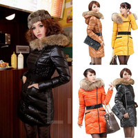 Wholesale Women Winter Long Hoodie Slim Down Coat Warm Feather Quilted Jacket Fur Collar