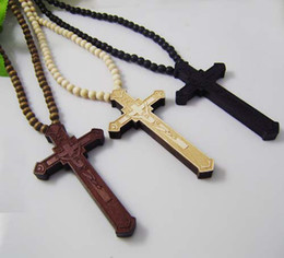 60Pcs Lot Hip Hop CHRIST JESUS Cross Pendant Wooden Beads Chain Necklace Good