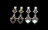 Wholesale Rhinestone Crystal Flower Stud cm Dangel Earrings Pairs European Style Bronze Alloy