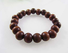 10MM Wooden Beads Strands Bracelet Stretch Black White Rose Khaki Brown Red Cheap Wholesale