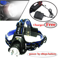Wholesale 1600LM CREE XM L T6 Headlamp Headlight Zoomable Power by Battery Charger