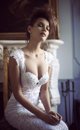 Wholesale Berta Bridal Wedding Dresses Spring Anne Queen Neckline Lace Mermaid Bridal Gowns Sleeveless Gown Cathedral Train Dress