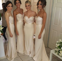 2018 Ivory Bridesmaid Dress Sweetheart Sheath Column Sweep Train Sequined with Sash Misses Long Evening Party Gowns Formal prom Dress New