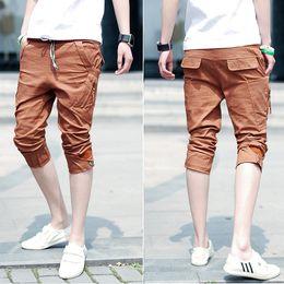 Wholesale Orange color Fashion Short Pants Jeans Men Slim Fit Skinny Trousers Short Pants Pencil Shorts JX0157 Drop Shipping