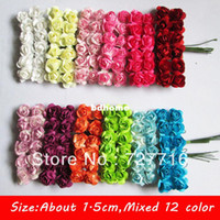 Wholesale MIXED COLOR Mini Mulberry Paper Flower Bouquet Scrapbooking artificial rose flowers