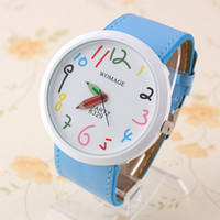 Wholesale Womage Quartz Watch PU belt colorful numbers white Face Watches Clock hours womage Wrist watch YJP45