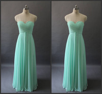 Wholesale 2014 in stock cheap hot sale prom dresses sweetheart A line floor length ruffle backless high quality green chiffon simple