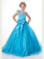 Wholesale 2014 New Arrival Pageant Interview Suits For Girls Blue Tulle Beads Bow Long Ball Gown Girl Pageant Dresses