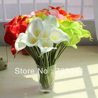 Wholesale 6 COLORS LATEX REAL TOUCH FLOWERS WHITE DARK RED PINK GREEN SUNSET RED YELLOW CALLA LILY WEDDING BOUQUETS
