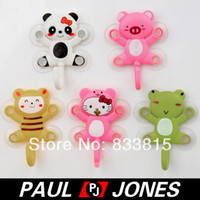 Plastic suction hook - Novelty Cartoon Cat Frog Panda Pig Bee Kitchen Shower Bathroom Suction Hook O