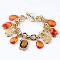 Charm Bracelets Women's Fashion Min Order $15(Can Mix Item)2014 Gold Vintage Brown Imitation Crystal Water Drops Statement Bracelet