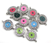 Wholesale New Item cm Mix Colors Rhinestone Evil eye Charms Connectors for Handmade Bracelets