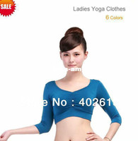 Wholesale Hot sale Ladies Yoga clothes Yoga T shirt Bamboo fiber Three quarter colors