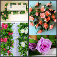 Wholesale 5pcs Home decoration Artificial roses flower vine rattan cane Wedding garland festive amp party suppliers Plastic flower wall