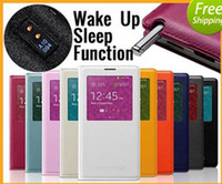 For Samsung PU Leather  White 1:1 Official S View Flip Cover Case For Samsung Galaxy Note 3 N9000 Note3 With Senor Chip Dormancy Function,Automatic Wake up Sleep Funtion3