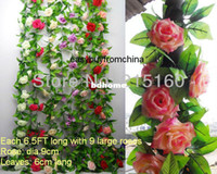Wholesale 6 artificial silk rose flower garlands Each FT Long with large roses ivy leaves for wedding home party decoration