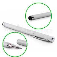 Wholesale Touchscreen Writing Stylus with Ball Pen for iPad iPhone Playbook Xoom and P1000 Silver