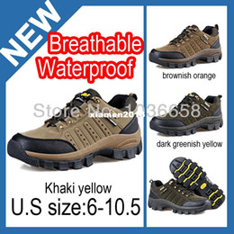 Wholesale 2014 Men Casual Outdoor Hiking Shoes Genuine Leather Waterproof Breathable Climbing Mountain Trekking Equipment Brand Camel DS1